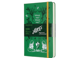 "Ежедневник Moleskine 2020 ""Alice's Adventures in Wonderland "", Large, Зелёный"