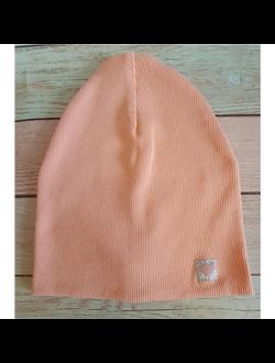 ШВ19-13360381 Двухслойная трикотажная шапка с маленьким сердечком, лапша персик+СНУД К ШАПКЕ