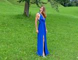 Готовое платье-трансформер с разрезом цвета ультрамарин(№468)