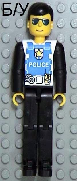 ! Б/У - Technic Figure Black Legs, White Top with Police Logo, Black Arms (Set 8252), n/a (tech019) - Б/У