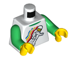 Torso Classic Space Minifig Floating Pattern / Green Arms / Yellow Hands, White (973pb0549c01 / 4549942)