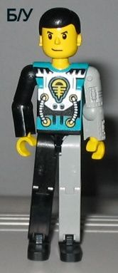 ! Б/У - Technic Figure Black/Light Gray Legs, Dark Turquoise Torso with Yellow, Black, Silver Pattern, Light Gray Mechanical Left Arm, n/a (tech001) - Б/У