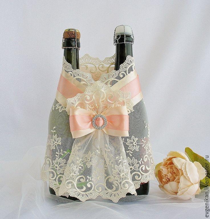Украшение своими руками для шампанских бутылок на свадьбу