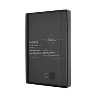 Блокнот Moleskine Leather (в линейку), Large, чёрный