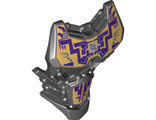 Large Figure Torso with Bionicle Purple and Gold Pattern, Black (24193pb06 / 6139104)