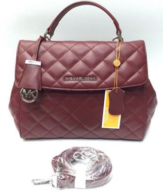 Сумка Michael Kors Ava Quilted Bordo / Бордовая