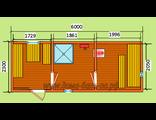 """Схема готовой  бани - размер 6 х 2,3 м. Печь """"Ермак"""" дымовая труба в крышу, бак с нагревателем воды,"""