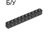 ! Б/У - Technic, Brick 1 x 10 with Holes, Black (2730 / 273026) - Б/У