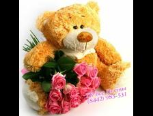 Презент стандарт букет 15 роз и плюшевый мишка