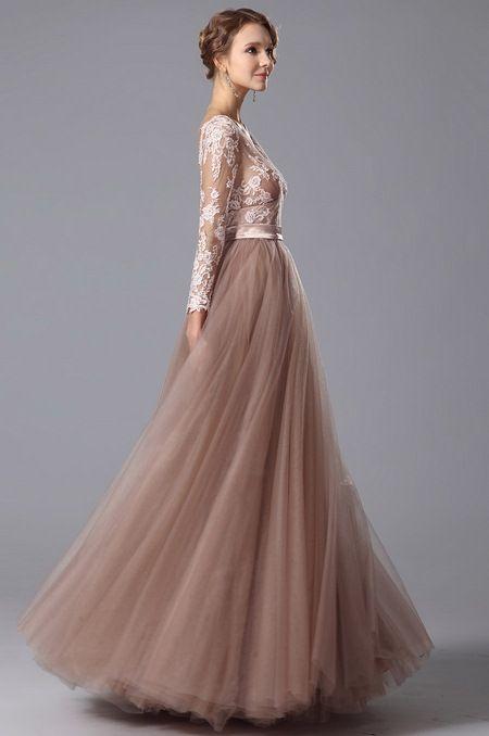 5081512a23f Длинные платья в пол - Вечернее выпускное длинное пышное коричневое ...
