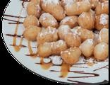 Веселые пышки: пончики, сгущенка, шоколадный сироп, 200 гр, 619 Ккал
