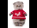 Кот Басик в красном свитере с петушком
