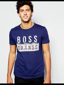 Футболка с принтом логотипа BOSS Orange, цвет синий