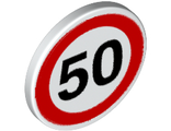 Road Sign 2 x 2 Round with Clip with Black Number 50 in Red Circle Pattern, White (30261px2 / 4295388 / 4521341 / 6317588)