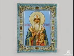 Икона святителя Алексия Московского. Заказать икону. Ростовская финифть.