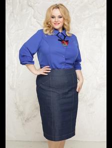 Юбка джинсовая Матильда-МТ_156_Jeans (синий).Размер (56-58).