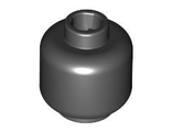 Minifig, Head (Plain) - Stud Recessed, Black (3626c / 362626)