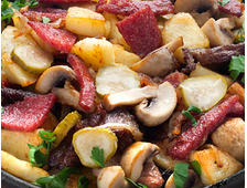 Жарёха мясная с грибами