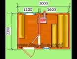 Планировка готовой бани 3х2,3м При оформлении все размеры и расположение окон, дверей корректируется