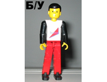 ! Б/У - Technic Figure Red Legs, White Top with Red Triangle, Black Arms, n/a (tech004) - Б/У