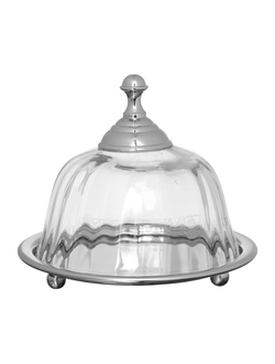 Масленка с латунным блюдом BUTTER DISH CLARELL SILVER GREY D13.5 STAINL+GLASS 33212