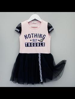 Платье (сетка, стразы, лента) (розовый) | арт.77334