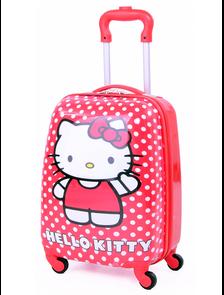 "Детский чемодан на 4 колесах - ""Hello Kitty / Хелло Кити - Красный в горох"" «Disney»"