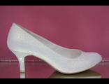 Свадебные вечерние туфли выбитая кожа классика айвори маленький широкий каблук купить интернет салон
