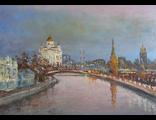 """Круглова Светлана. """"Вечерняя Москва"""",  холст / масло,  50 х 70 см.,  2016 г."""