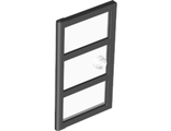 Door 1 x 4 x 6 with 3 Panes and Stud Handle with Trans-Clear Glass, Black (60797c04 / 6253332)