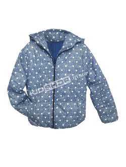 """куртка детская демисезонная 3-7 лет """"джинсовый горох"""" синяя"""