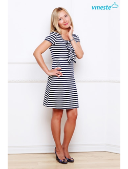 Blue & white striped dress with a frill