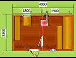 Готовая баня тип 4В размер 2,3 х 4 м. с печкой Валдай, дымовая труба проходит через стену