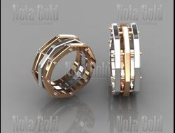 Обручальные кольца гайки из желтого и белого золота с бриллиантами (Вес пары 16  гр 33a516b00d0