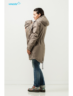 Khaki autumn-spring 3-in-1 parka