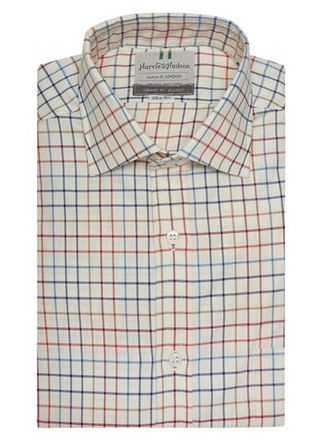 Рубашка HARVIE & HUDSON Navy And Red Country Check Classic Fit Shirt