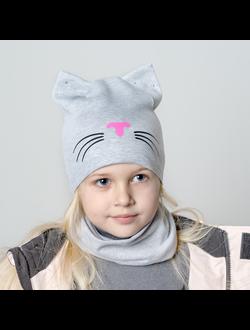 ШВ19-04271379 Шапка двухслойная кошка с усами, серый меланж