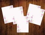 """Бумага для писем 5 листов """"Акварельные цветы"""""""