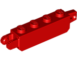 Hinge Brick 1 x 4 Locking with 1 Finger Vertical End and 2 Fingers Vertical End, Red (30387 / 4144570 / 6195079)