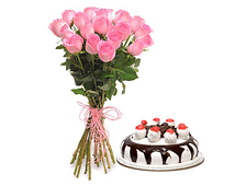 Милого праздника набор 19 роз с тортом