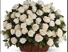 Корзина белых роз Фаворит