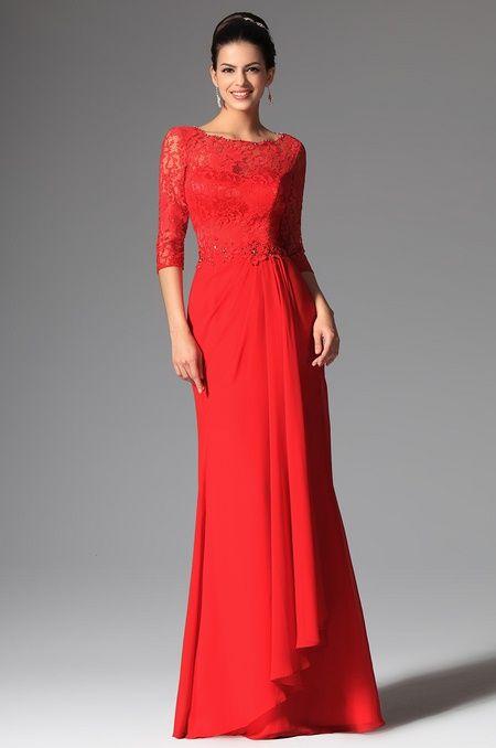 1902e6877e6 В наличии - Вечернее красное закрытое длинное кружевное платье для матери  невесты с рукавами