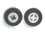Wheel 8mm D. x 6mm with Black Tire 14mm D. x 4mm Smooth Small Single - New Style  4624 / 59895 , Light Bluish Gray (4624c05)