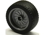 Wheel 18mm D. x 12mm with Axle Hole and Stud with Black Tire 24 x 12 Low  18976 / 18977 , Flat Silver (18976c01)