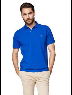 Поло GANT, однотонная с логотипом, цвет синий