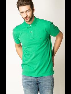 Поло TOMMY HILFIGER однотонная с логотипом, цвет зеленый