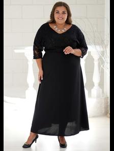 Вечернее платье макси, комбинированное кружевом Марина- 001-12 (черный). Размерный ряд: 56-62