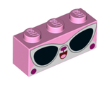 Brick 1 x 3 with Cat Face and Sunglasses Disco Kitty, Bright Pink (3622pb104 / 6273207)