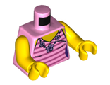 Torso Female Top with Dark Pink Stripes and Flower Necklace Pattern / Yellow Arms / Yellow Hands, Bright Pink (973pb1978c01 / 6107399)