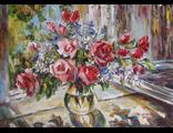 """Круглова Светлана. """"Розы и ромашки на окне"""", холст / масло, 50 х 70 см., 2015 г."""